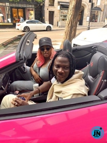 DJ Cuppy hits the streets of London riding with Stonebwoy, in her new Ferrari (Video)